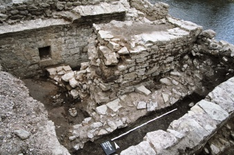 View of the excavation of the medieval mikveh