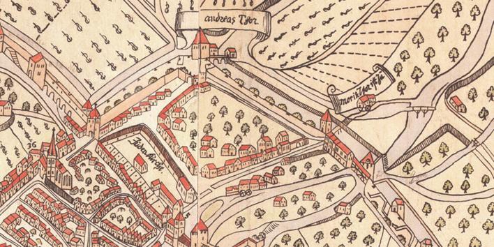 mittelalterliche Kartenzeichnung zum friedhof, mit Häusern und Bäumen