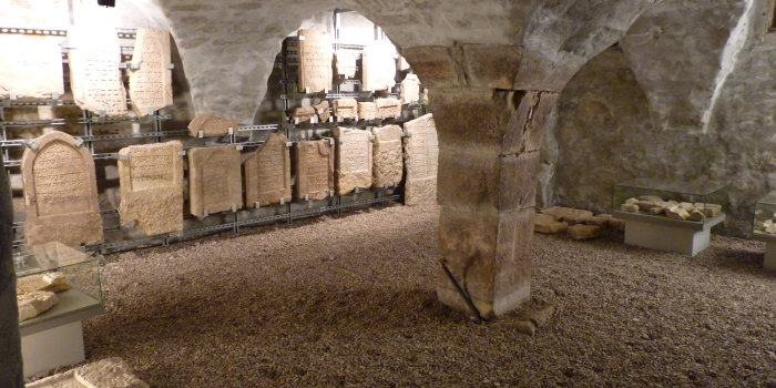 In the cellar of the Stone House, the medieval Jewish gravestones are being kept.