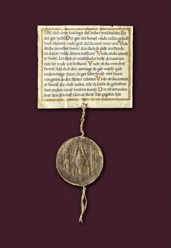 Jewish Oath in German. The format of the parchment is almost square. A large seal hangs from a cord from  the lower end of the document.